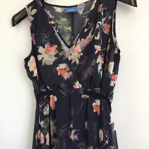 Simply Vera Vera Wang Navy Floral Chiffon Dress